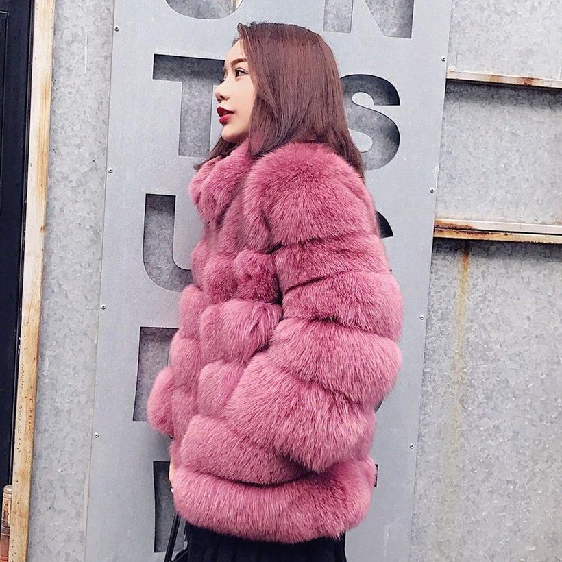 Pink-fake-fur-folding-coat