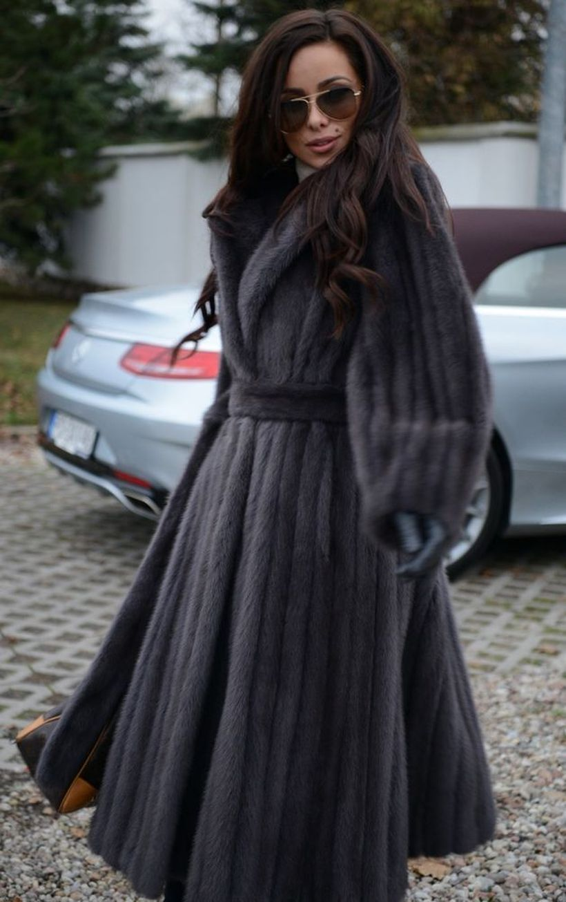 Elegant-dark-grey-fake-fur-long-coats