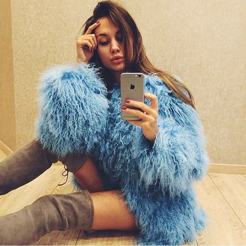 Unique-blue-fake-fur-thick-coats