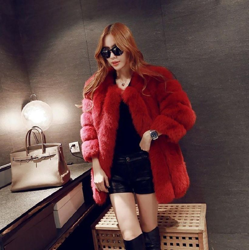 Red-fake-fur-thick-coats