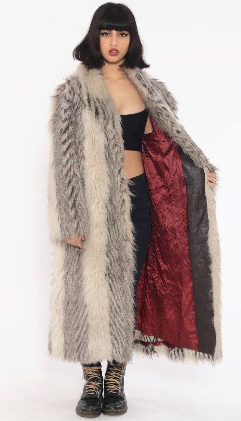 White-and-grey-fake-fur-long-coats