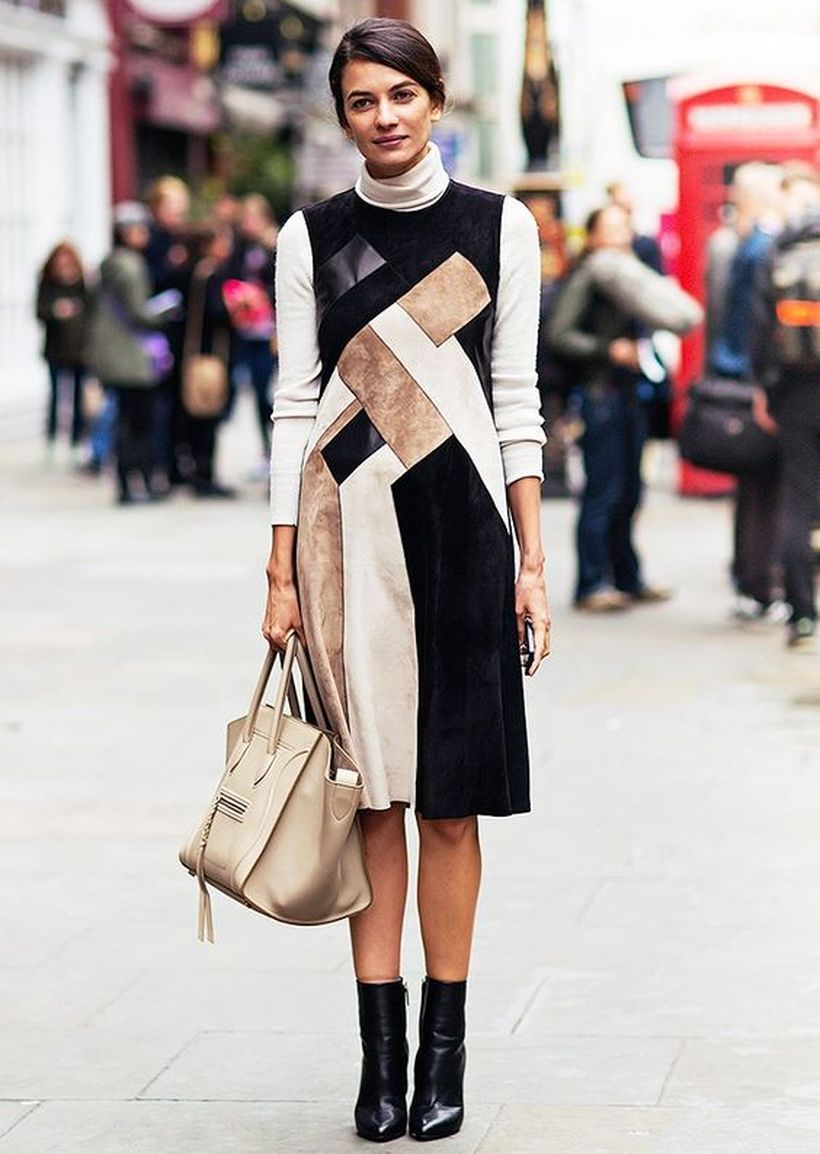 Best patchwork with short dress and black high heels for street style