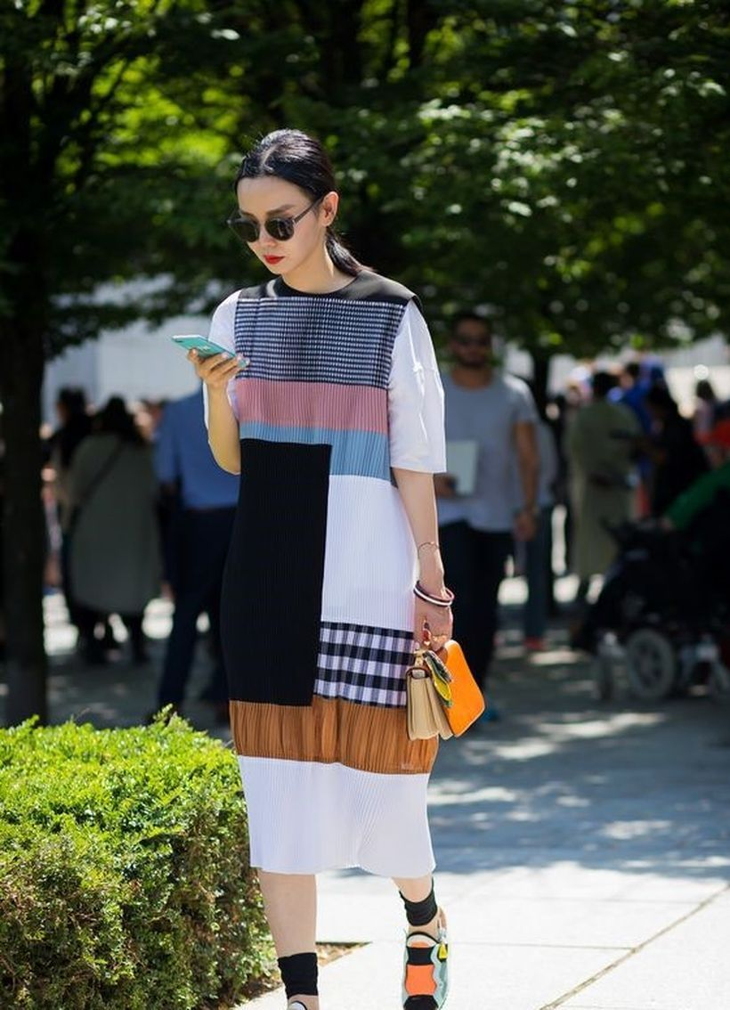 Casual patchwork with long dress pattern, colorful shoes and black glasses