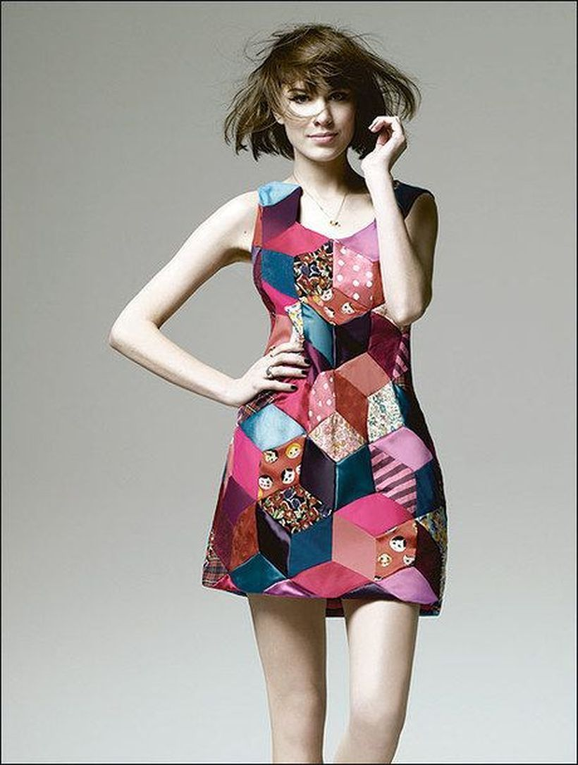 Stunning patchwork with sleeves short dress to look beautiful