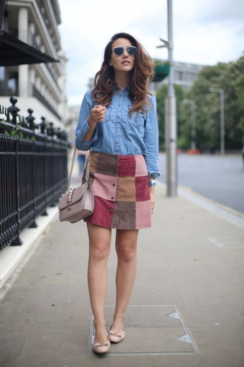 Mini patchwork skirt with blue denim shirt, beige high heels to look awesome