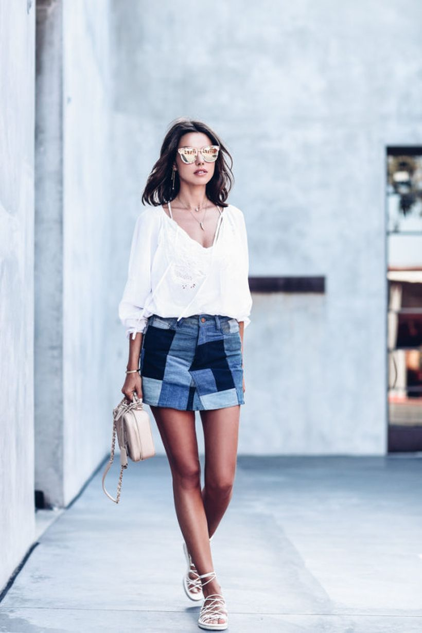 Pretty denim patchwork skirt with combine white shirt and white slippers ideas