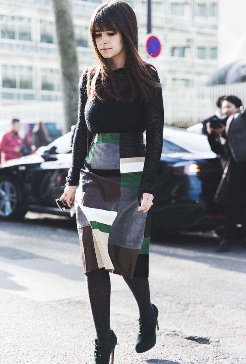 Beautiful patchwork skirt with combine black jacket and black shoes for best style