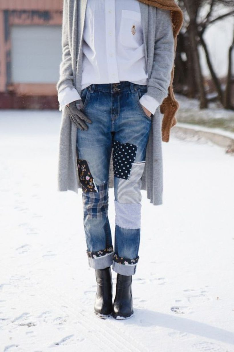Best patchwork denim pants combined with white shirt, long gray sweater, brown scarf, and black shoes