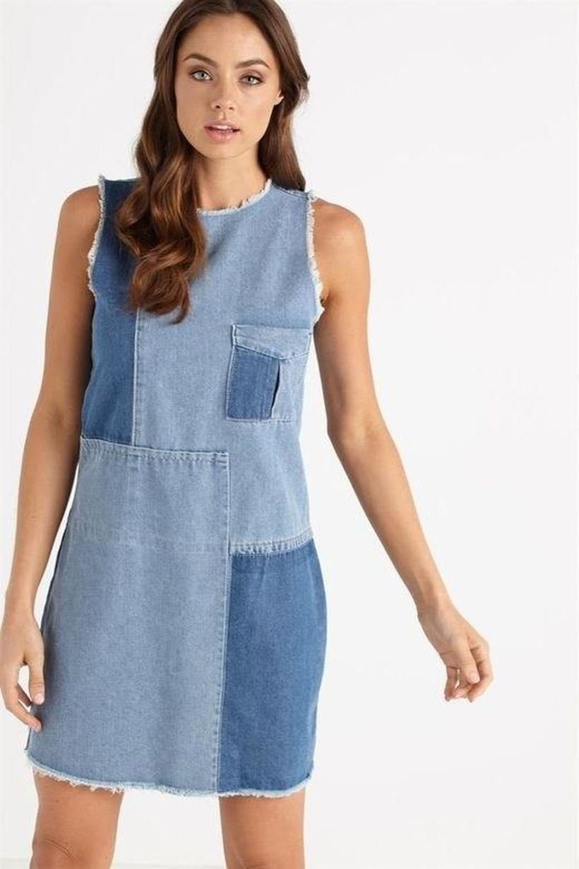 An amazing short denim patchwork dress to look beautiful