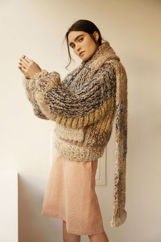 Brown knit sweater for women