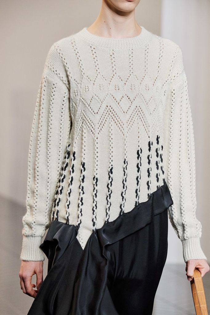 Patterned knit sweater in white