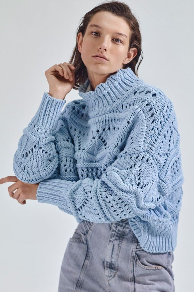 Light blue knit sweater for women