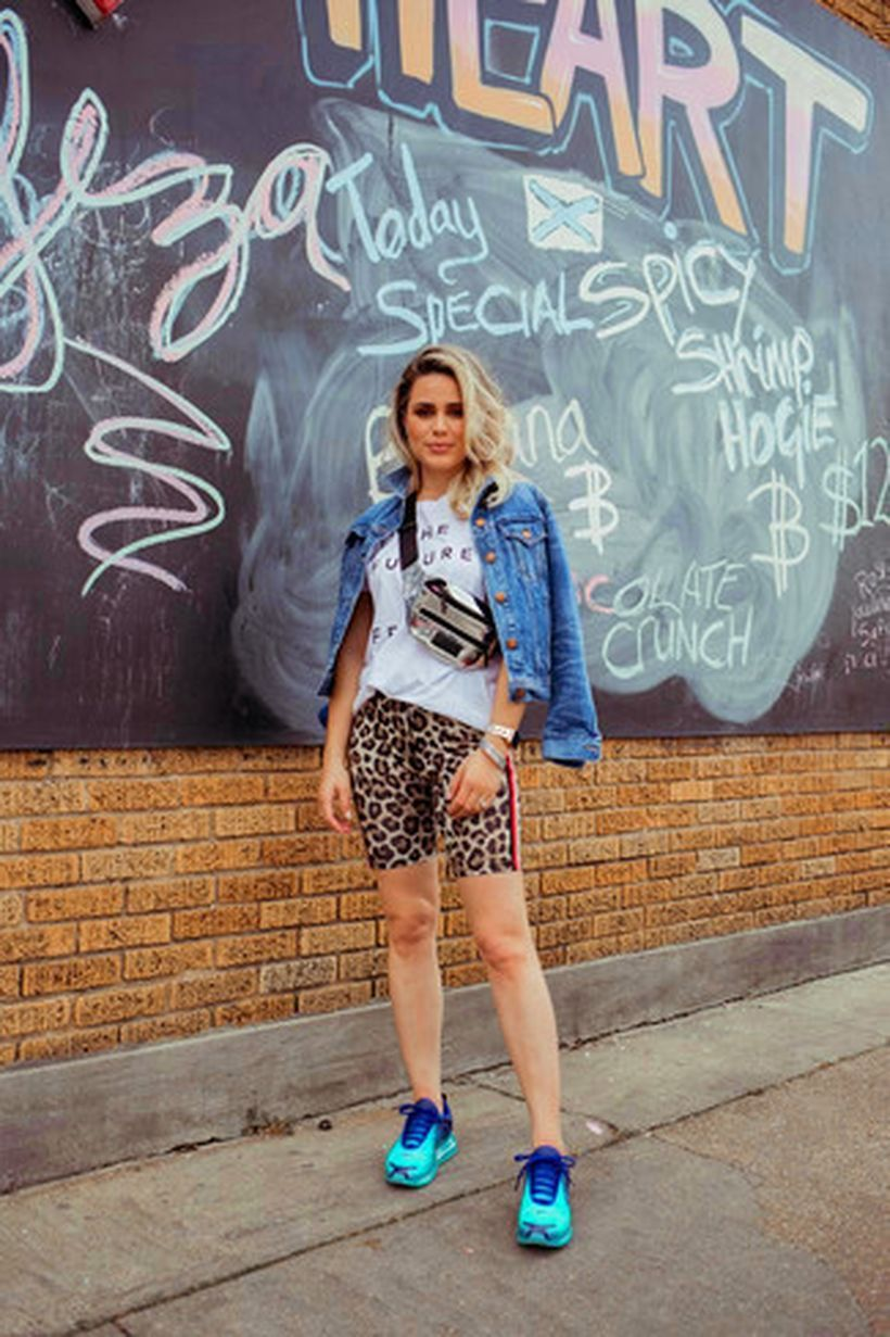 A-wonderful-wear-bike-outfit-combined-with-white-and-black-print-crew-neck-t-shirt-blue-denim-jacket-tan-leopard-bike-shorts-a-pair-of-mint-athletic-shoes-will-give-an-easy-going-touch-to-this-look.-
