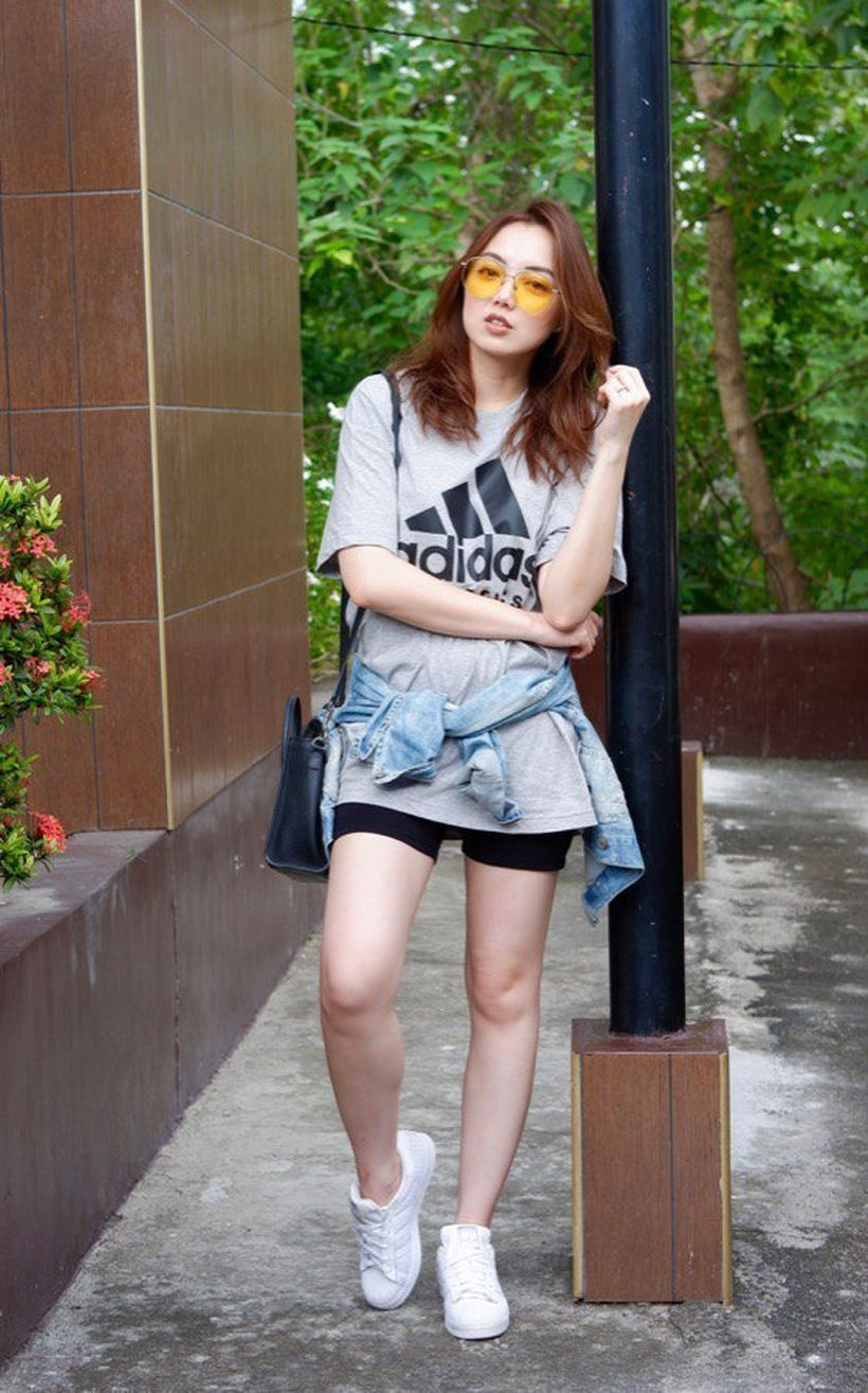 An-impressive-wear-bike-shorts-outfit-combined-with-grey-adidas-t-shirt-for-the-look-to-add-a-chic-urban-vibe-to-this-look-is-ideal-for-all-seasons.-