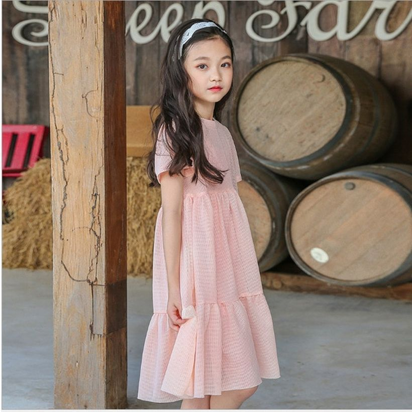 Simple girl outfit with long dress pink color and white headbands