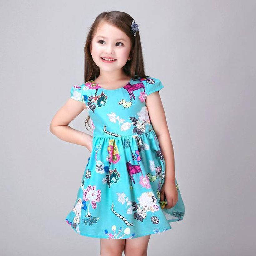Pretty girls outfit dresses with casual gown and motif in blue dress