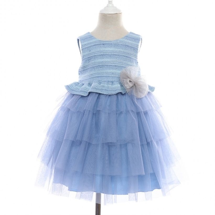 An awesome girl outfit with blue sleeveless and ribbon layered tutu dress