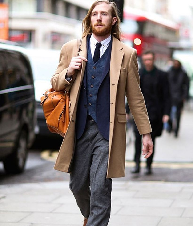 Best-combination-formal-men-beige-coat-and-dark-blue-suit-with-grey-pant-for-your-stylish