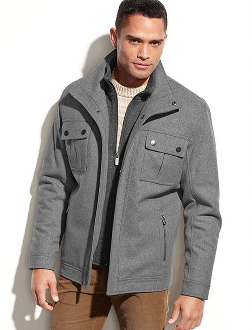 Best-formal-men-grey-coat-with-light-grey-knit-sweater-and-brown-pant-for-this-season
