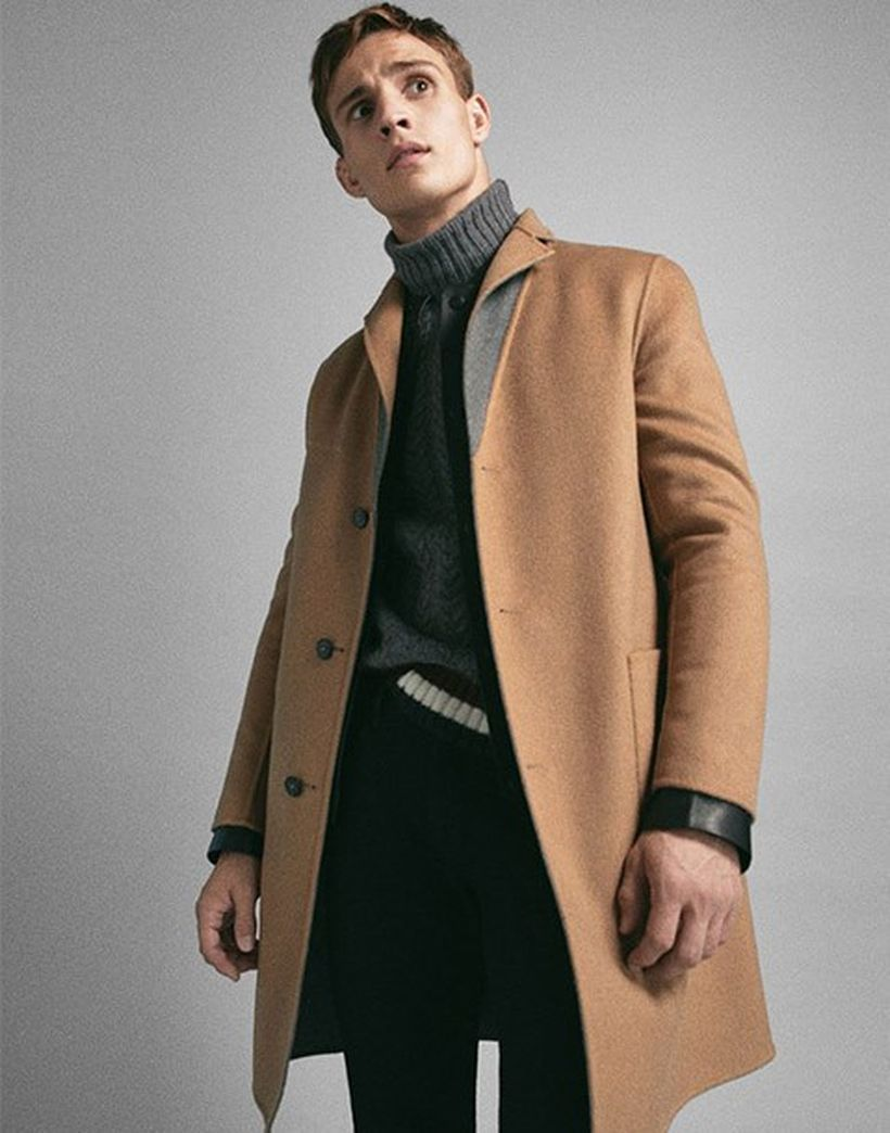Simple-formal-men-beige-coat-with-grey-knit-sweater-and-black-pant-to-look-stylish
