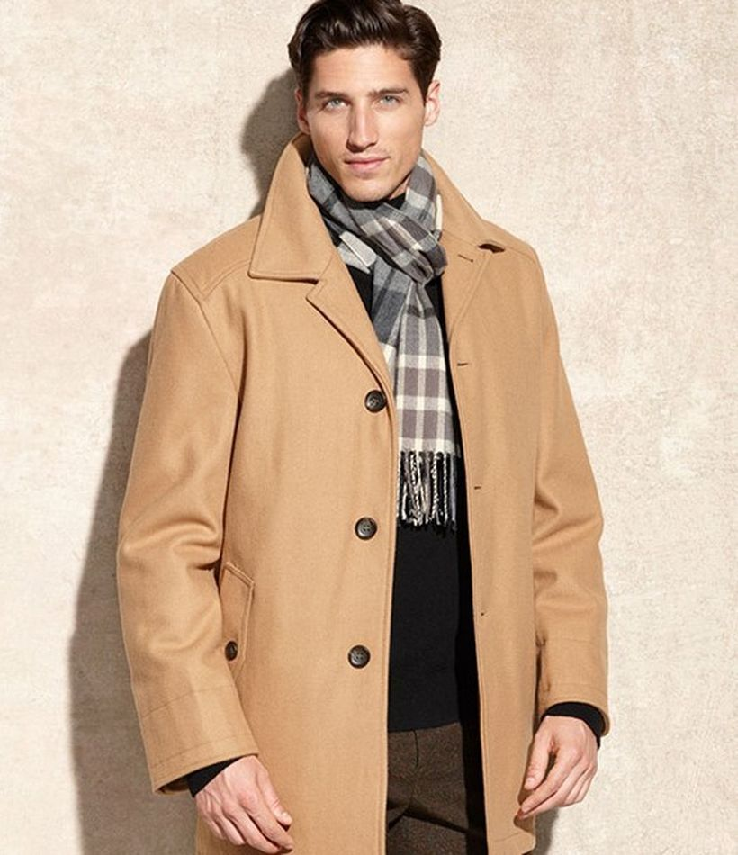 Formal-men-beige-coat-with-long-sleeve-black-shirt-and-plaid-scarf