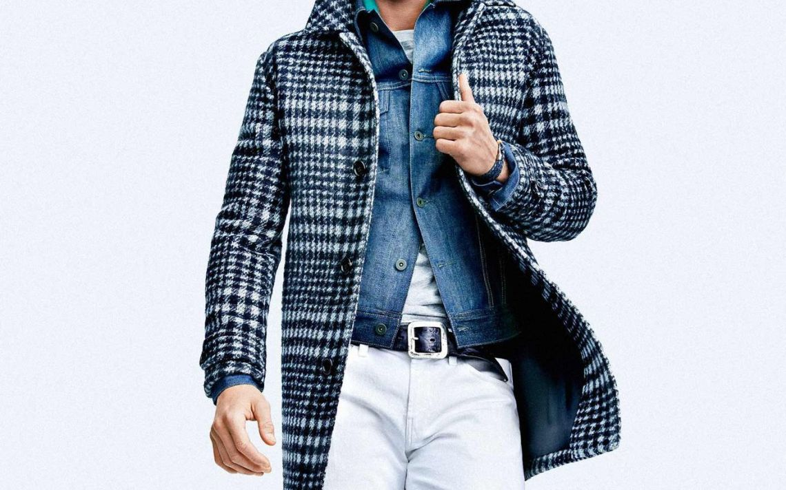 Best-casual-men-plaid-coat-with-denim-jacket-white-pants-and-leather-belt-for-your-style