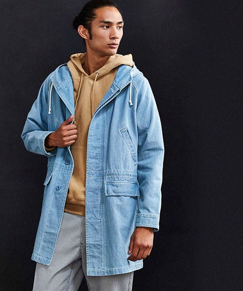 Casual-men-blue-denim-coat-with-beige-jacket-hoodie-and-plaid-pants-to-look-casual