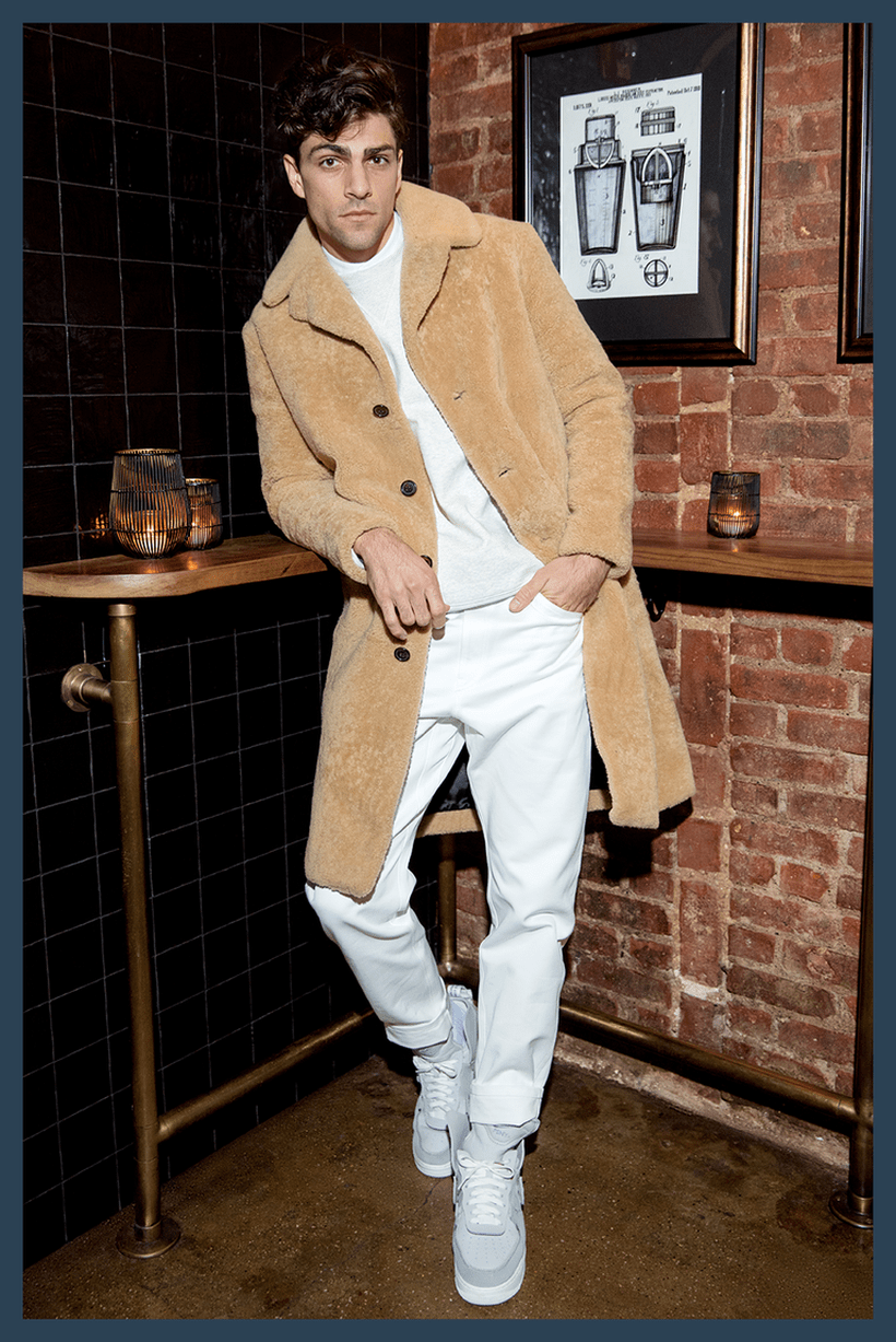 Casual-men-beige-velvet-coat-with-light-grey-sweater-and-white-pants-to-look-style