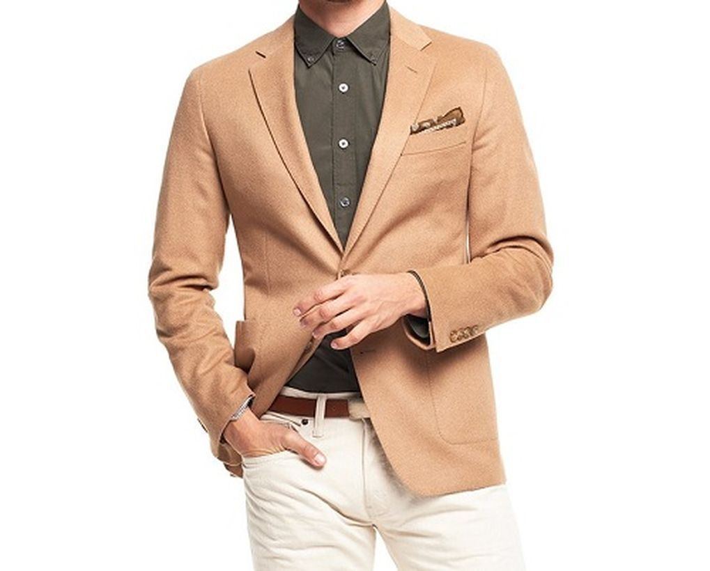 Best-beige-sportcoat-for-men-with-brown-shirt-white-pant-and-add-belt-for-your-style