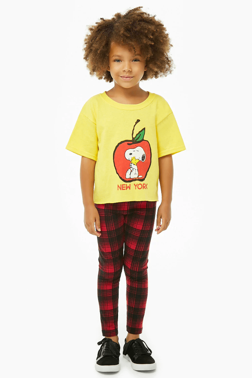 Cute decent clothes for boys first day school with yellow t-shirt, red pants square pattern and black shoes