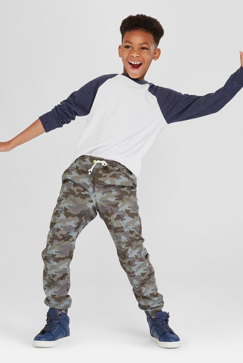 Decent clothes for boys first day school with long sleeves, army pants pattern and blue shoes