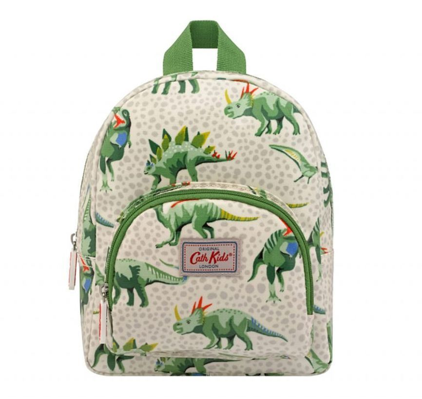 Cute white and green bags school with pictorial of dinosaurs to look cool