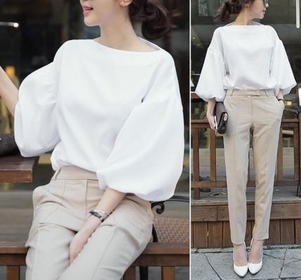 An amazing casual outfit with white puff sleeve blouse combined with beige chinos to perfect your style
