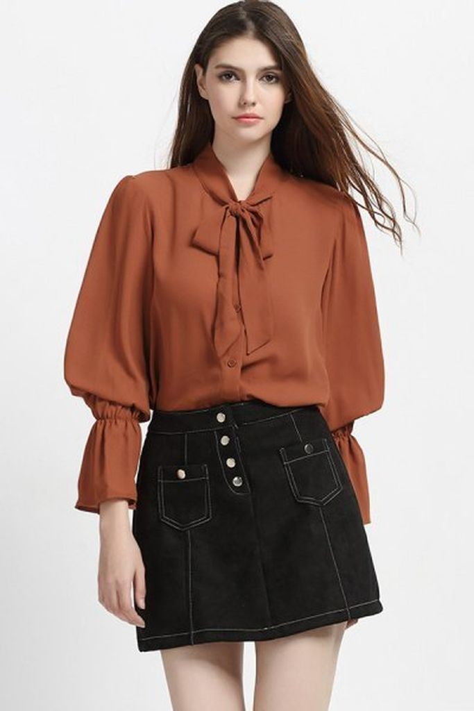 An elegant outfit style for women with brown ribbon bow puff sleeve blouse to perfect your style in this moment