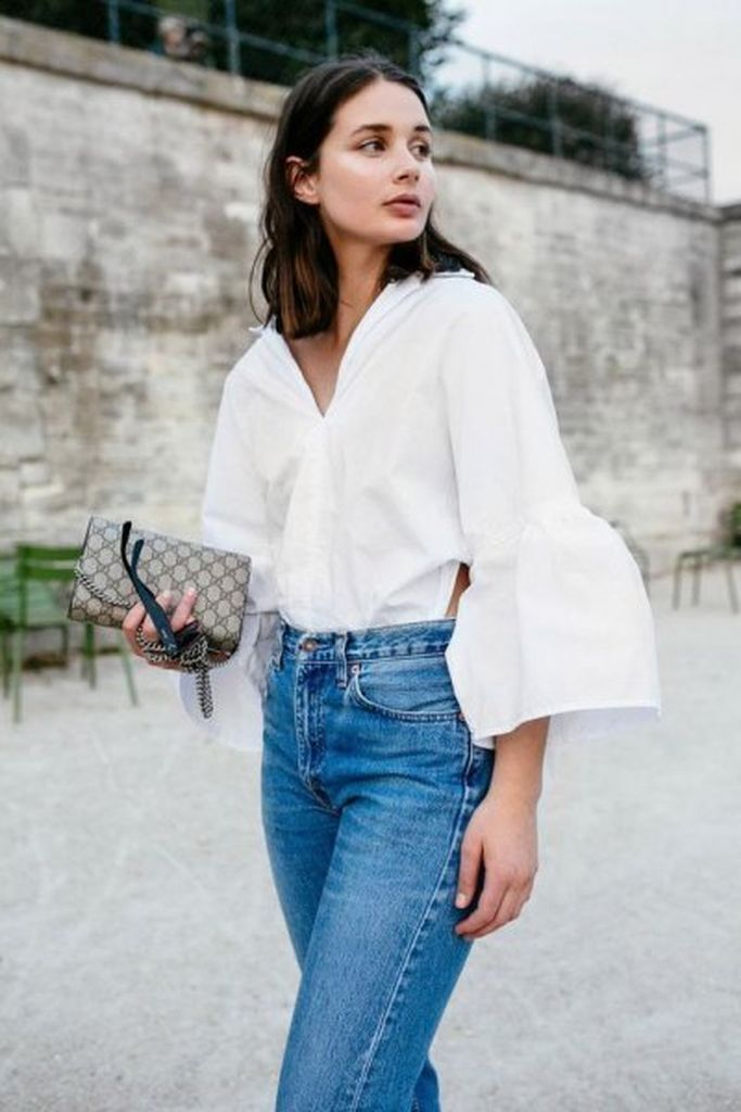 Beautiful casual outfit with white puff sleeve button up skirt with mom jeans to update your style
