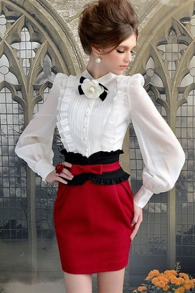 Perfect outfit style for women with white puff sleeve blouse with red bodycon mini skirt to beautify your style