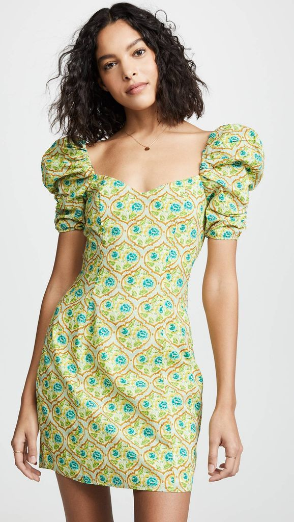 An amazing outfit for women with patterned puff shoulder mini dress to beautify your style