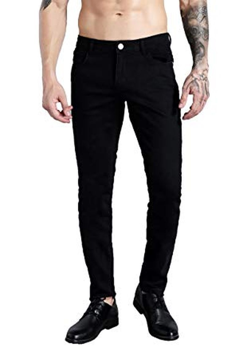 An amazing black slim fit jeans with black shoes look very cool