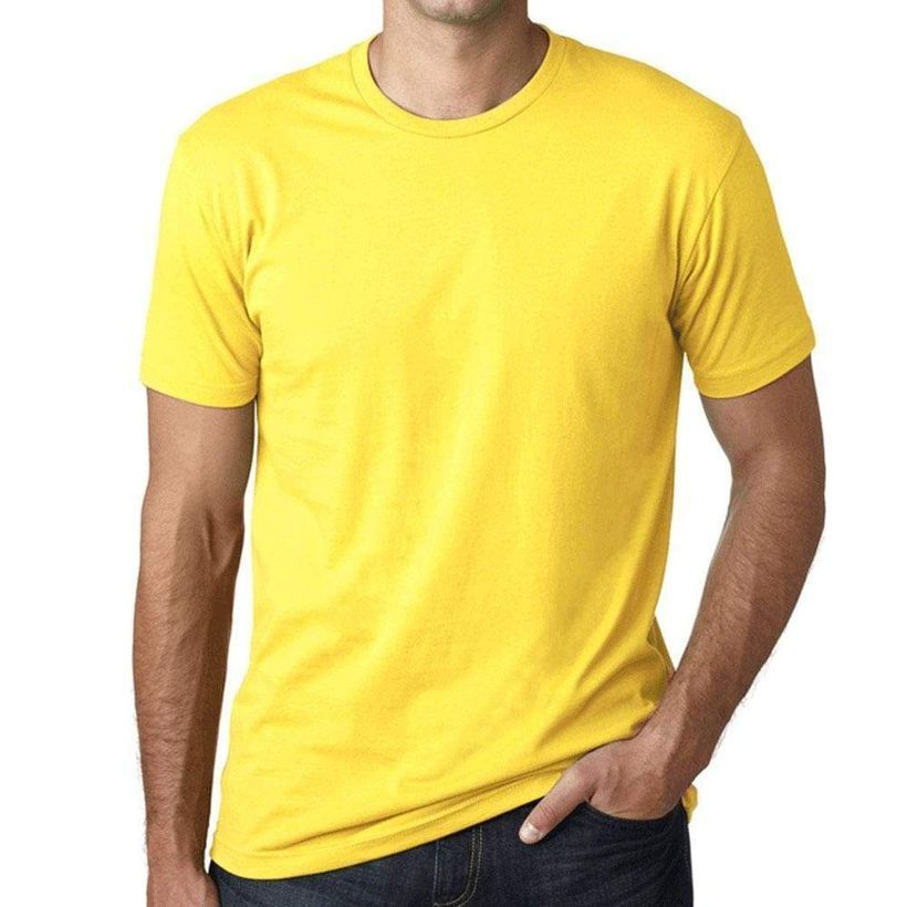 Yellow mens plain t-shirt to looks casual