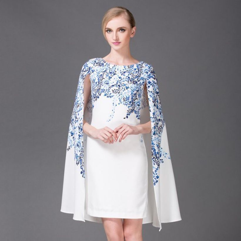 Beautiful white and blue floral printed cape dress ideas