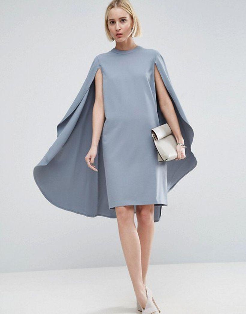 Best grey mock neck cape midi dress whit white high heels to look beautiful