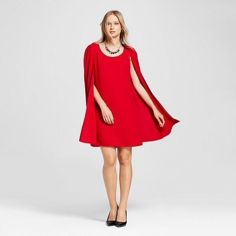 An awesome red cape shift dress with black ballet heels for good looking
