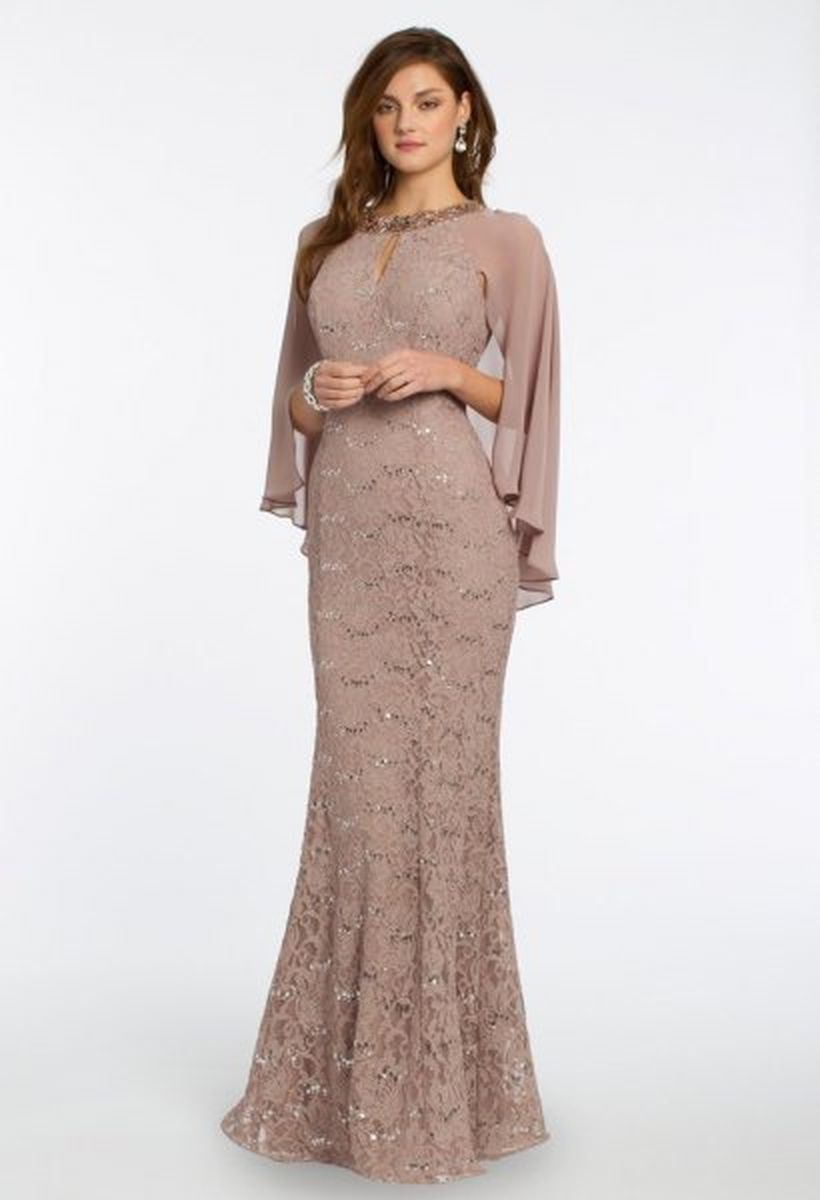 Long blush brown lace mermaid dress ideas to look beautiful