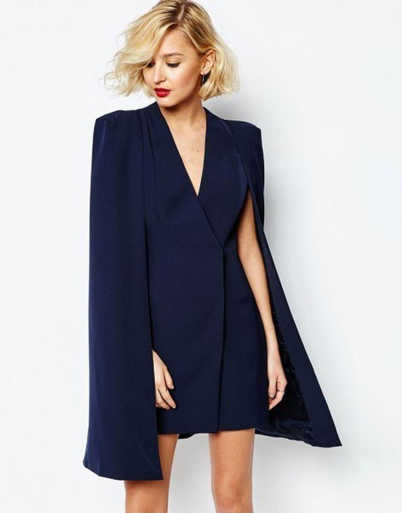 Stunning dark blue navy deep v-neck wrap cape mini dress ideas for going to event