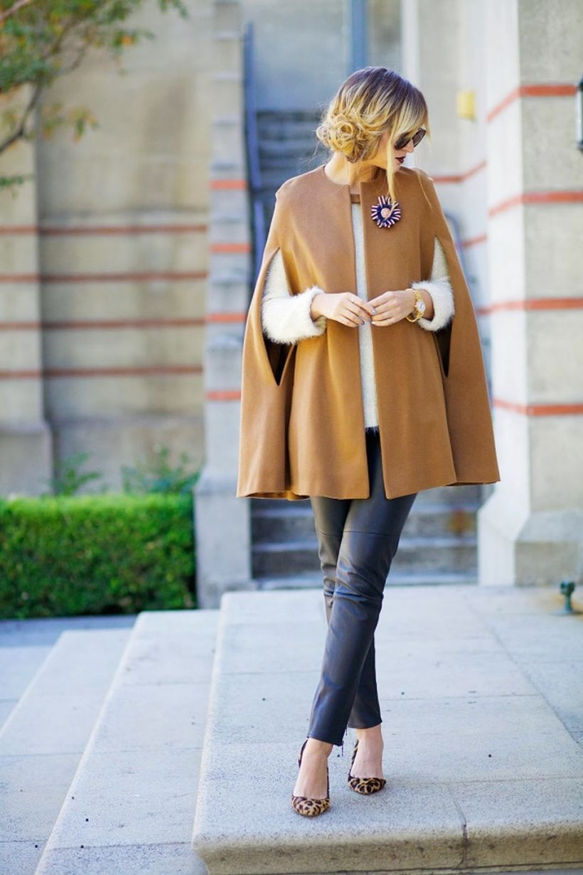 Beige cape blazer with white jacket combine black pants and high heels pattern