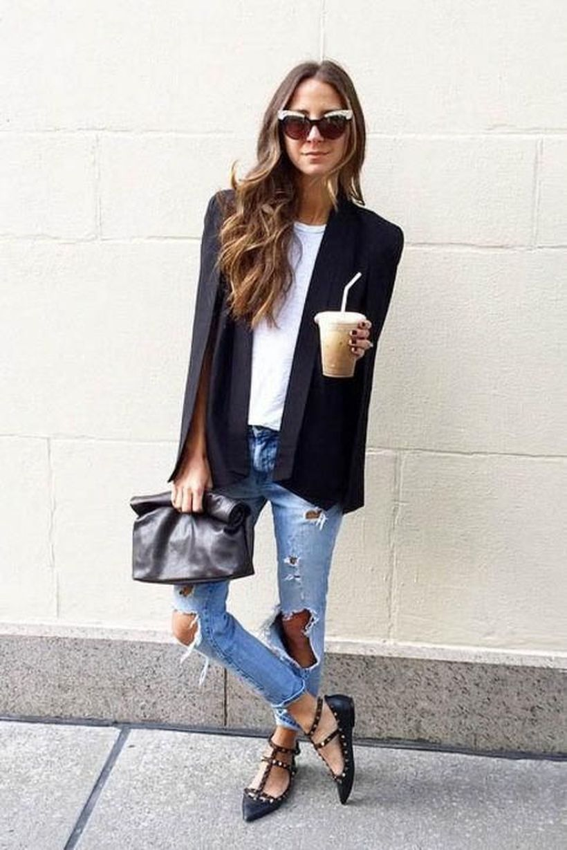 Best outfit with black cape blazer, white t-shirt, blue ripped blue jeans, black flat shoes to look casual
