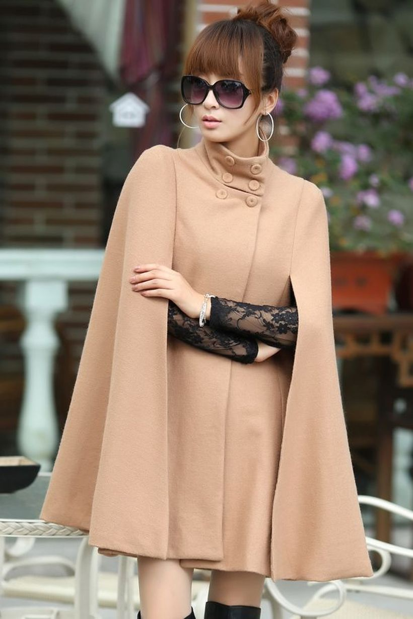 Cute outfit with beige cape blazer, black shirt, black long shoes and black glasses