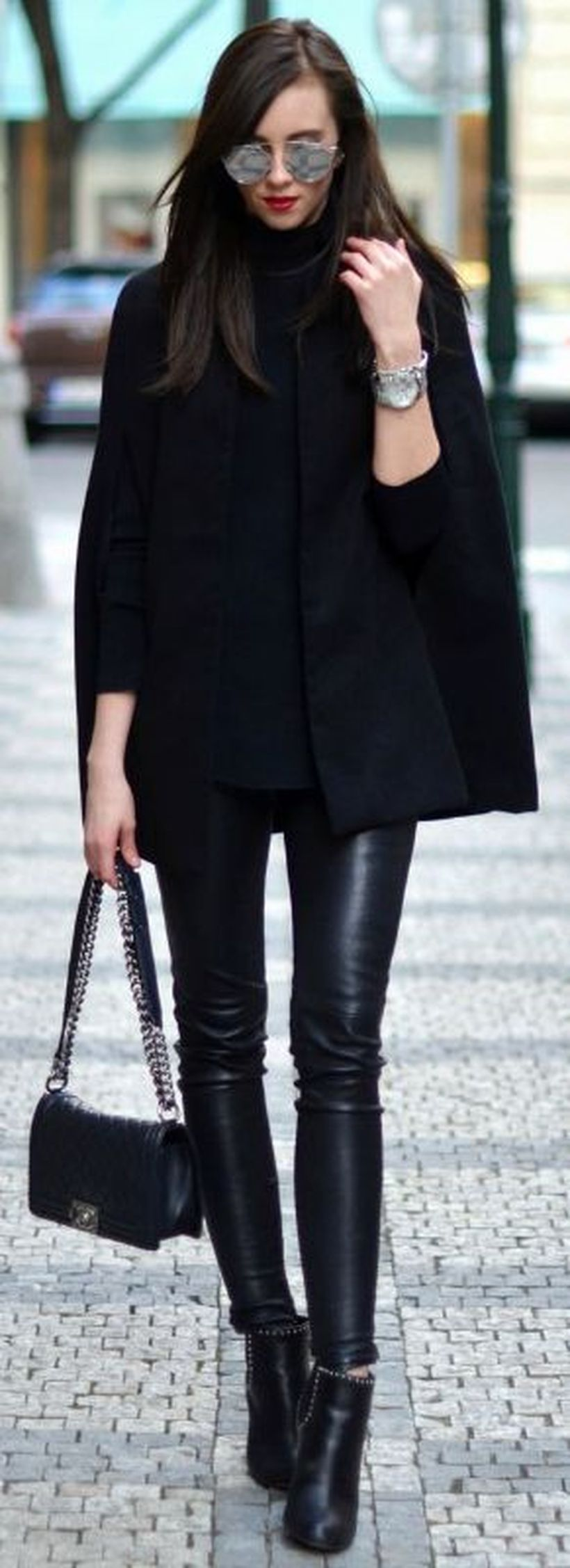 Pretty outfit with black cape blazer, black t-shirt, black pants and black high heels