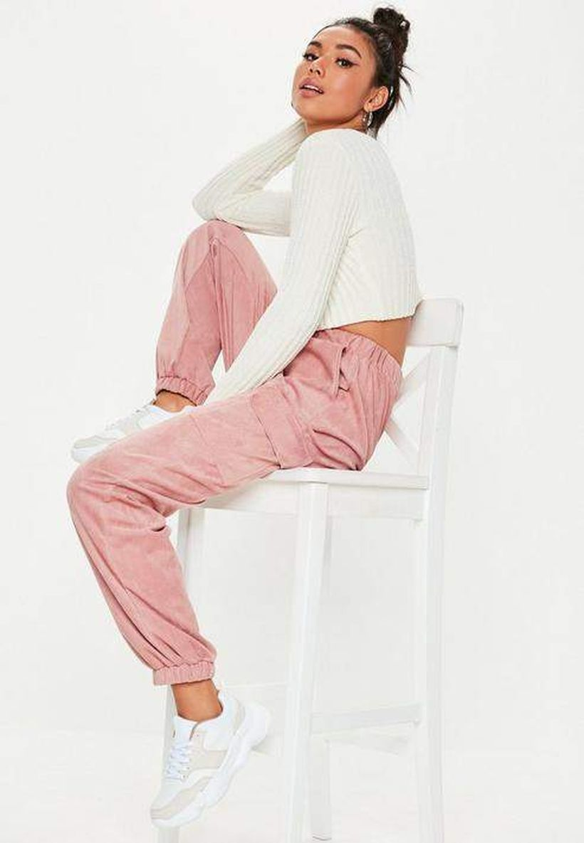 Grey-cargo-trouser-with-long-sleeve-white-knit-shirt