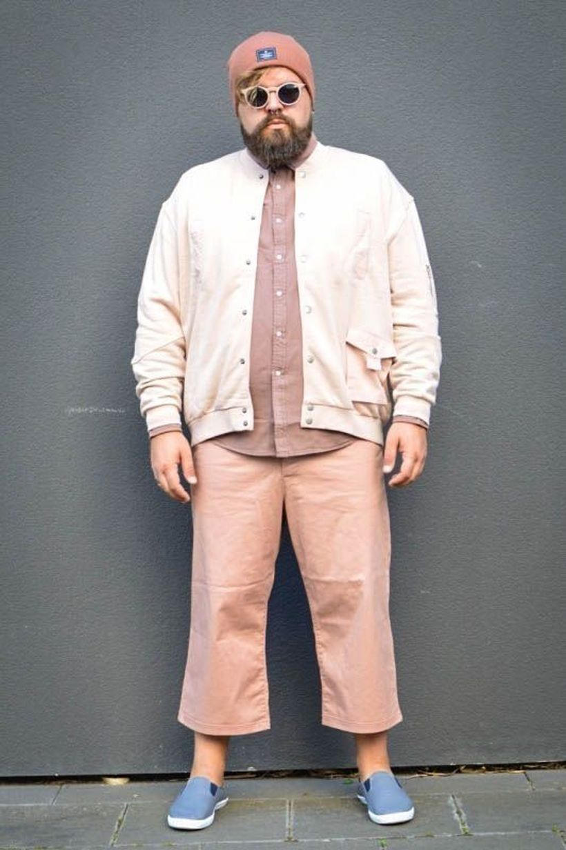 Light pink with beige shirt and pink pants